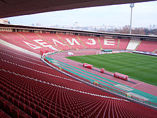 Delije section at Rajko Mitić Stadium. The organized supporters of Red Star  ... 131f9ccba