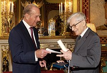 Bernard D'Espagnat receives prize from HRH The Duke of Edinburgh, Buckingham Palace (4440879448).jpg