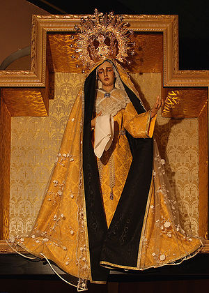 Marian feast days - Marian art is at times used to reflect Marian feasts. This statue of Our Lady of Sorrows in the hermitage church of Warfhuizen, the Netherlands, is dressed for the month of October.