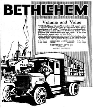 Bethlehem Motor Truck Corporation - 1920 ad for the trucks.
