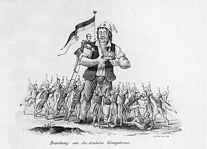 Imperial Sovereign - Caricature of the (supposed) enthusiasm of German princes, to be the crowned head of Germany. Frederick William IV rises on the shoulder of the Deutscher Michel.