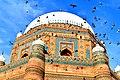 Birds flying around Tomb of Shah Rukn-e-Alam, Multan.jpg