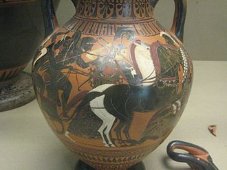 Giants (Greek mythology) - A depiction of the Gigantomachy showing a typical central group of Zeus, Heracles and Athena. black-figure amphora in the style of the Lysippides Painter, c. 530-520 BC (British Museum B208).