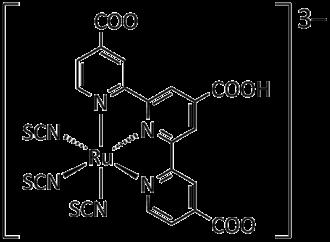"""Dye-sensitized solar cell - """"Black Dye"""", an anionic Ru-terpyridine complex"""