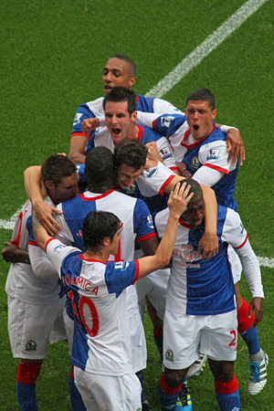 2011–12 Blackburn Rovers F.C. season - Blackburn players celebrate winning at home against Arsenal on 17 September 2011