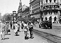 Blaha Lujza tér, a Nagykörút - Rákóczi út kereszteződése és a Dohány utca felé nézve. Fortepan 14238.jpg