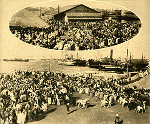 Four Communes - Arrival of Blaise Diagne, Deputy for Senegal, High Commissioner of the Government for the recruitment of black troops in Dakar in March 1918