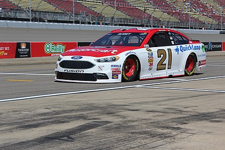 Ryan Blaney driving the iconic No. 21 Wood Brothers Ford in 2016 at Michigan International Speedway Blaney Heads Off For Practice..jpg