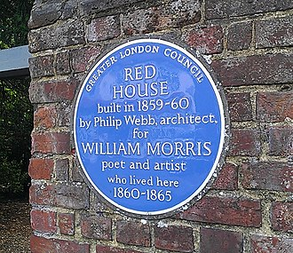 The blue plaque erected outside the Red House Blue plaque outside Red House.jpg