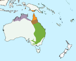 map of Australia showing multicolored area across north and east of the country, and New Guinea