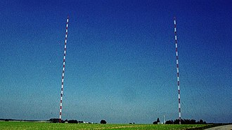 Bodenseesender - The facility of Bodenseesender in September 2005. Two of the three mentioned 137 metre tall masts were already demolished. The remaining 137 metre mast can be seen right in the picture. In the left part of the picture, there is the 240 metre tall main transmission mast of Bodenseesender