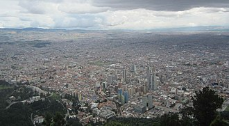 View of Bogota from the mountain Monserrate Bogota as seen from Montserrat.jpg