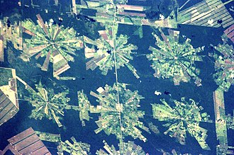 Habitat destruction - Satellite photograph of deforestation in Bolivia. Originally dry tropical forest, the land is being cleared for soybean cultivation.