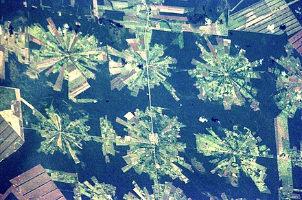 Satellite image of deforestation in progress in eastern Bolivia. Worldwide, 10% of wilderness areas were lost between 1990 and 2015. Bolivia-Deforestation-EO.JPG