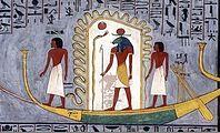 Барка бога Ра (в центре) проходит по подземному миру (Дуат). Гробница Рамсеса I. XIII в. до н. э.
