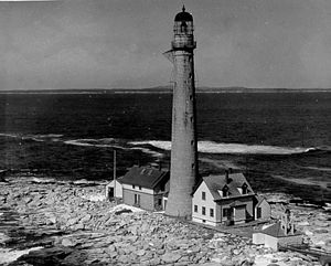 Boon Island Light - Before the loss of the keeper's house in 1978