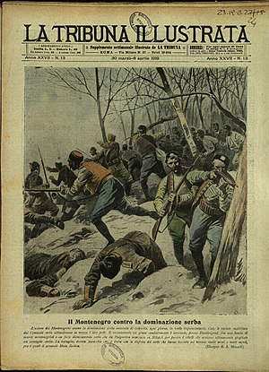 "Christmas Uprising - Cover of the Italian weekly La Tribuna Illustrata from 1919, titled ""Fighting near Podgorica between Montenegrin rebels and Serbian army"""