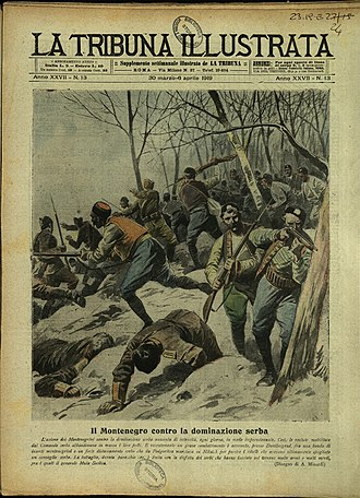 """Christmas Uprising - Cover of the Italian weekly La Tribuna Illustrata from 1919, titled """"Fighting near Podgorica between Montenegrin rebels and Serbian army"""""""