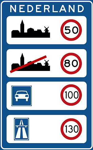 Speed limits in the Netherlands - Image: Bord grensovergang NL