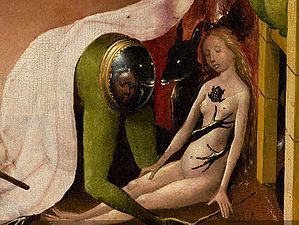 Bosch, Hieronymus - The Garden of Earthly Delights, right panel - Detail Green person (mid-right).jpg