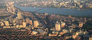 "Back Bay, Boston - Aerial view of the ""High Spine"" of skyscrapers in the Back Bay, including the Prudential Center and John Hancock Tower."