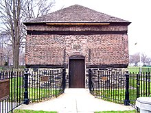 A picture of the Fort Pitt blockhouse built by the British in 1764; it is the oldest extant structure in the City of Pittsburgh.