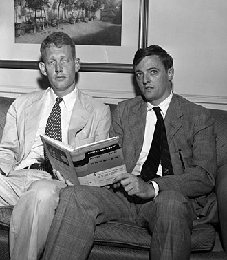 William F. Buckley Jr. - Buckley (right) and L. Brent Bozell Jr. promote their book McCarthy and His Enemies, 1954