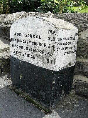 Bramhope - Milestone near St Giles Church