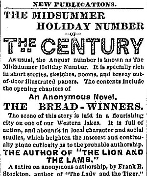 The Bread-Winners - Part of The Century Company's advertisement for its August 1883 issue, featuring The Bread-Winners