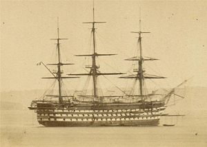 French ship Bretagne (1855) - Daguerreotype of Bretagne in Brest, circa 1860