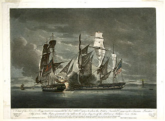 United States Merchant Marine - Naval battle off Halifax between the American privateer ship Jack crewed by U.S. Merchant Mariners and HMS Observer by night on 29 May 1782.