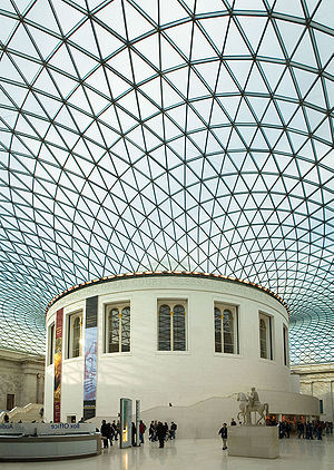 Thin-shell structure - Great Court, with a lattice thin-shell roof by Buro Happold with Norman Foster, British Museum, London
