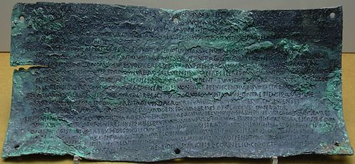 The second of the four Botorrita plaques. The third plaque is the longest text discovered in any ancient Celtic language. This, the second plaque, is inscribed in Latin however.[45]
