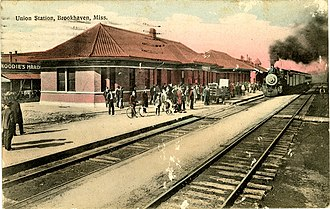 Godbold Transportation Center - Postcard of the former Brookhaven Union Station built by Illinois Central Railroad, now a military museum