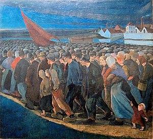 Belgian general strike of 1893 - Un soir de grève (1893) by Eugène Laermans
