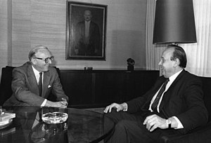 Peter Carington, 6th Baron Carrington - NATO Secretary General Lord Carrington with West German Foreign Minister Genscher in Bonn, 1984