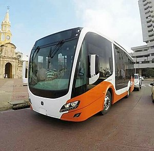 Timeline of Cartagena, Colombia - Transcaribe bus.