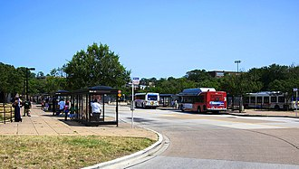 Green Line (Washington Metro) - Extensive bus bays (depicted) were added to the Anacostia station to accommodate Prince George's County buses that never serviced the station.