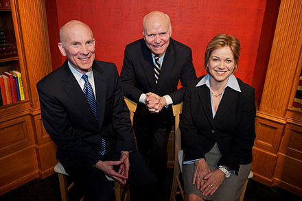 Founder Brian Lamb in 2012 flanked by co-CEOs Rob Kennedy and Susan Swain C-SPAN Leadership.jpg