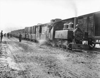 War Department Light Railways - Western Front (Belgium), Ypres Area. Locomotive believed to be a Baldwin 4-6-0T