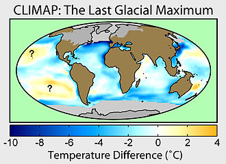 Last Glacial Maximum - A map of sea surface temperature changes and glacial extent during the last glacial maximum according to Climate: Long range Investigation, Mapping, and Prediction.