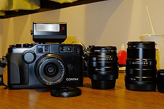 Contax G - G2 in black with matching TLA 200 and lens set