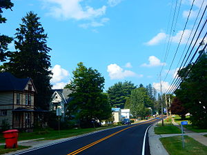 Hinsdale, New York - The hamlet of Hinsdale along County Route 26.