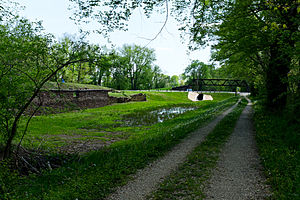 White's Ferry - Maryland Route 107 (White's Ferry Road) crosses the Chesapeake and Ohio Canal at White's Ferry. Note the stone ruins of the granary on the left