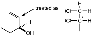 "Cahn–Ingold–Prelog priority rules - This example showcases the ""divide and duplicate rule"" for double bonds. The vinyl group (C=C) or alkene portion has a higher priority over the alkane (C-C) portion."