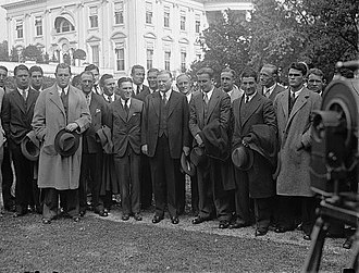 California Golden Bears football - 1929 team with President Hoover outside of the White House. The picture was taken the same week as Cal's away game at Penn.