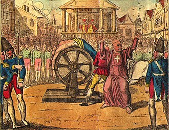 "Jean Calas - ""The cruel death of Calas, who was broke on the wheel at Toulouse, 10 March 1762."""