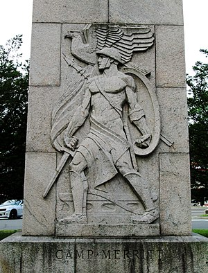 Camp Merritt, New Jersey - Robert Ingersoll Aitken's relief at the base of the monument