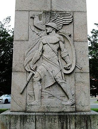 Camp Merritt, New Jersey - Robert Ingersoll Aitken's relief at the base of the monument