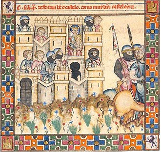 Muhammad I of Granada - A Christian-held castle besieged by Muslim troops during the Mudéjar revolt of 1264–66
